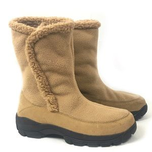 Lands End Fuzzy Lined Winter Boots Rubber Soles